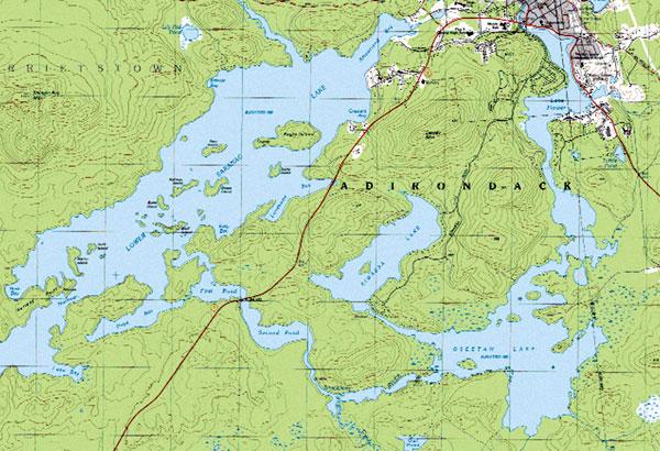 Adirondack Waterfront Information  Topographic Maps of Adirondack